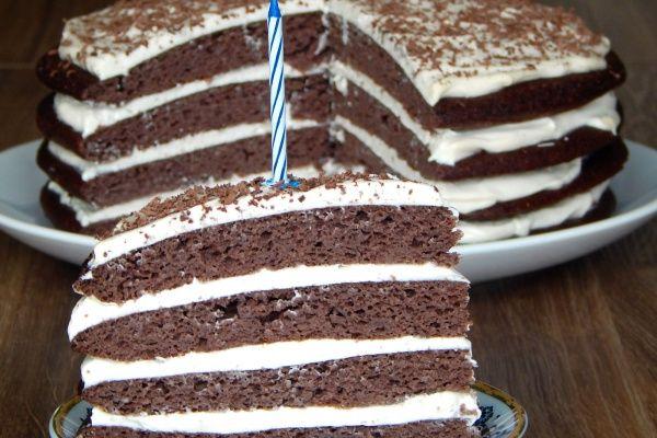 Tort czekoladowo-śmietankowy, bez cukru i glutenu