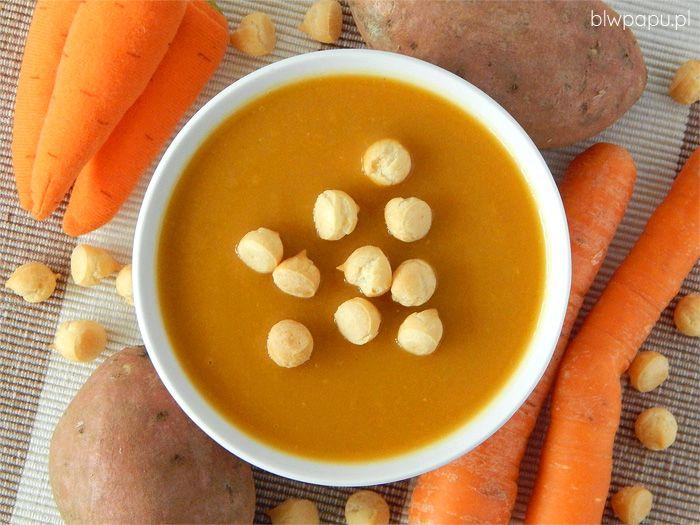 Zupa krem z batatów i marchewek, z dodatkiem imbiru